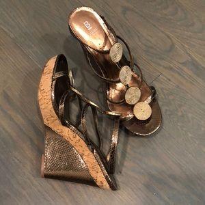 Bronze Wedge Heel Shoes